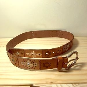 Fossil patterned genuine leather brown belt, small